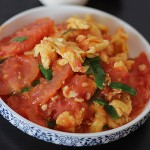 Stir Fried Tomato and Eggs with Scallions
